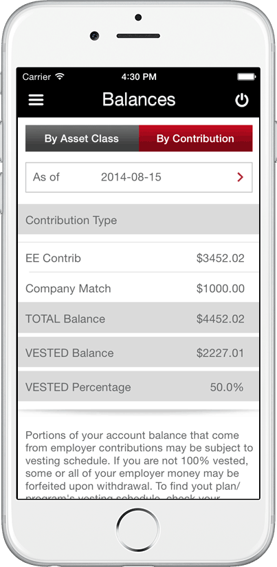 TRSRetire Mobile App - Retirement Planning Solutions - Balances Screen by Contribution