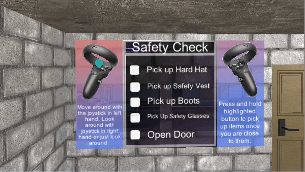 A screenshot of the construction safety board within the construction training virtual reality demo