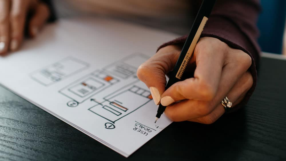 how to make an app, Female UI designer sketching wireframes in app development process